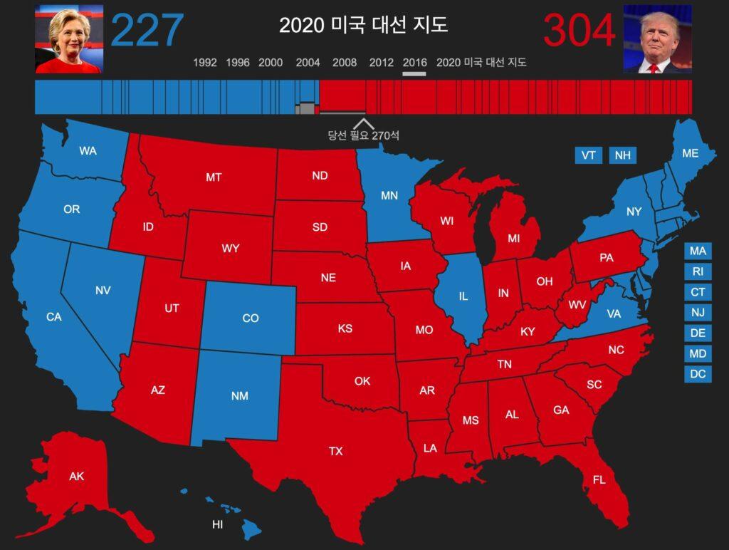 2016년 힐러리 vs. 트럼프 미국대선 결과