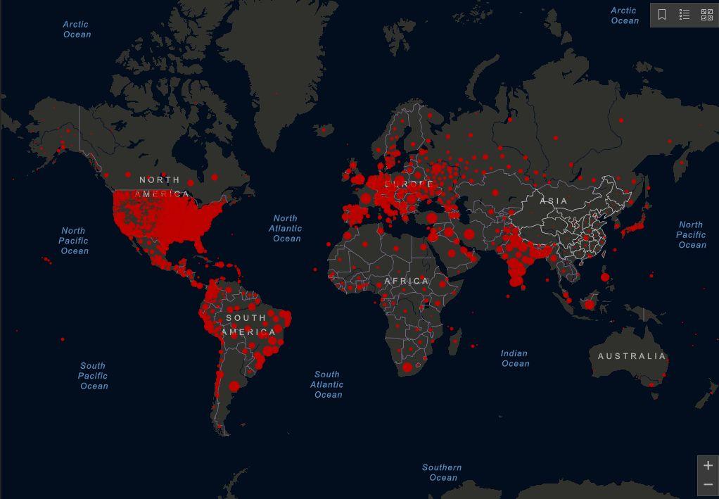 전세계 코로나 확진자 현황지도, JHU